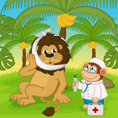 doctors and patient: monkey doctor treats a lion - vector illustration, eps