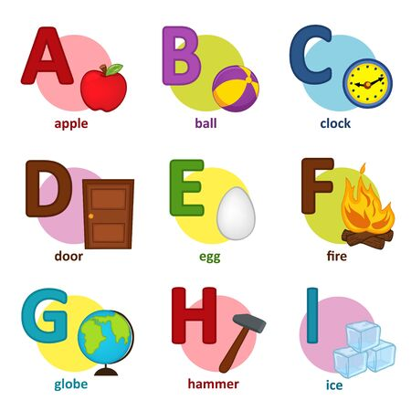 literate: alphabet english from A to I - vector illustration Illustration