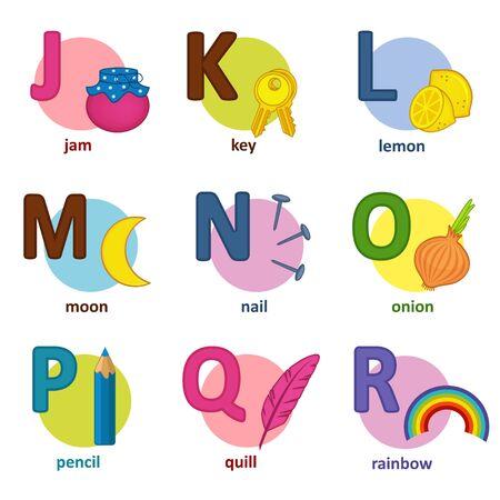 english alphabet: alphabet english from J to R - vector illustration,