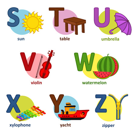 yachts: alphabet english from S to Z - vector illustration,