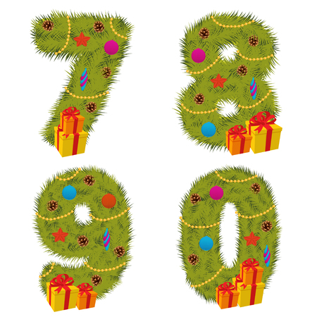 7 9 years: set of numbers Christmas tree from 7 to 9 - vector illustration, eps Illustration