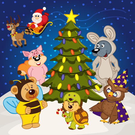 christmas tree illustration: animal around christmas tree - vector illustration, eps