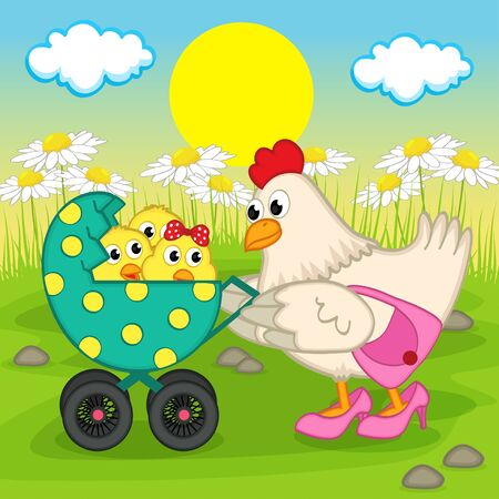 animal vector: Mother chicken with chickens in stroller - vector illustration, eps Illustration