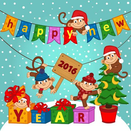 wooden plaque: new year 2016 with monkeys - vector illustration, eps Illustration