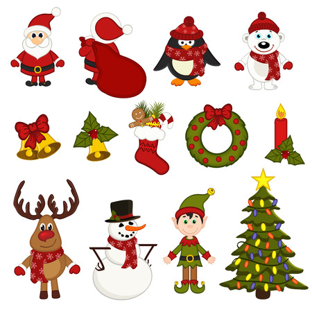 christmas characters: set of isolated christmas characters and decorations - vector illustration,