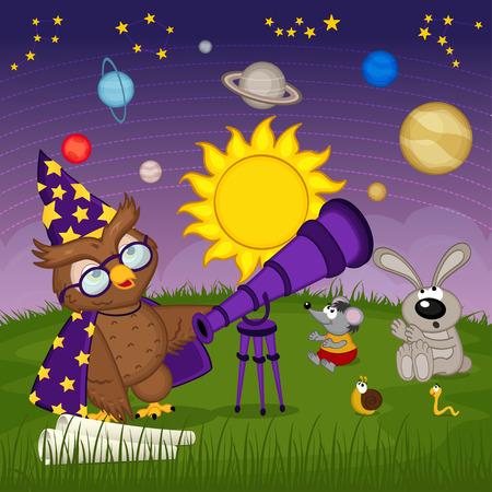 astrónomo búho con animales están viendo de planetas - ilustración vectorial, EPS Ilustración de vector