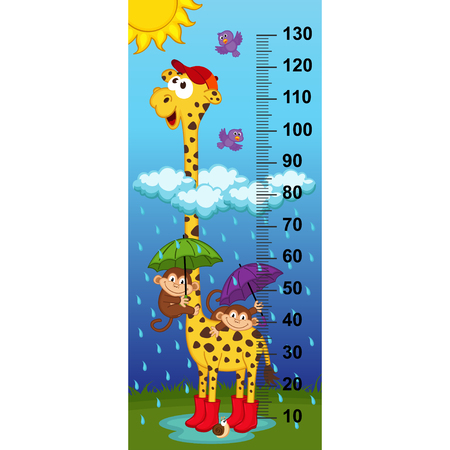 rain cartoon: giraffe height measurein original proportions 1: 4 - vector illustration, eps Illustration