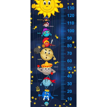 cartoon earth: solar system height measurein original proportions