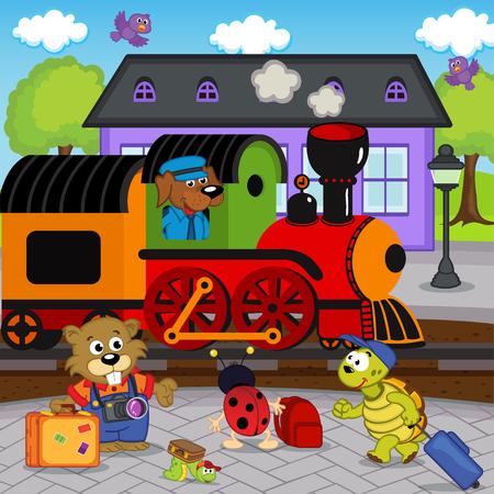 mariquitas: animales en la estación de tren - ilustración vectorial, EPS