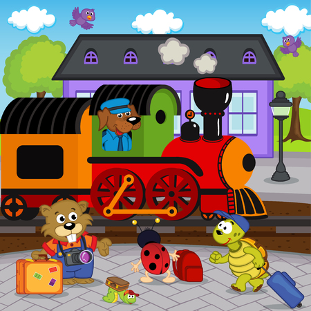 animals at railway station - vector illustration, eps