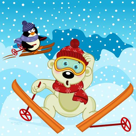 polar bear and penguin skiing - vector illustration, eps