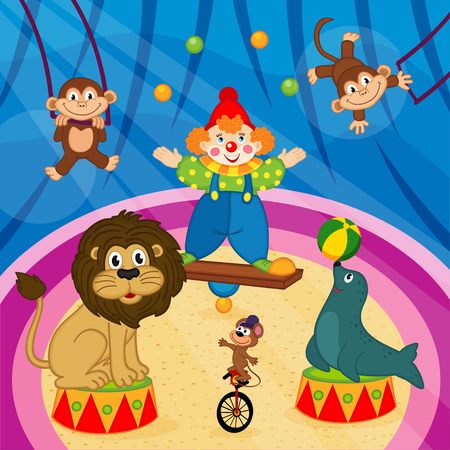 costume ball: arena in circus with animals and clown - vector illustration