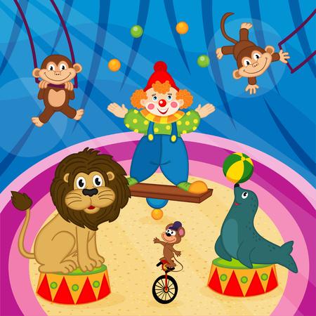 Arena in Zirkus mit Tieren und Clown - Vektor-Illustration