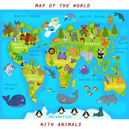 kaart van de wereld met dieren - vector illustratie
