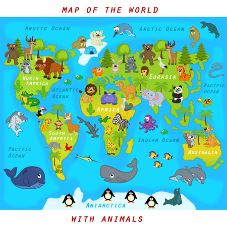 climate: map of the world with animals - vector illustration