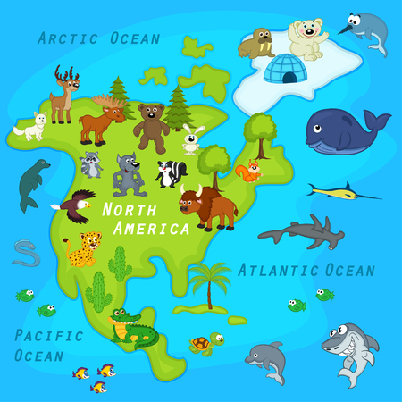north america: map of the North America with animals - vector illustration