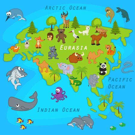 eurasia: map of Eurasia with animals - vector illustration