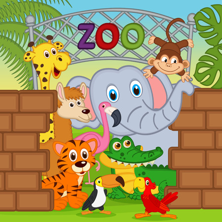 zwierzaki: zwierzęta w zoo Ilustracja