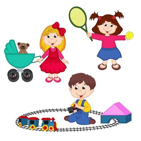 pelota caricatura: los ni�os juegan con los juguetes Vectores