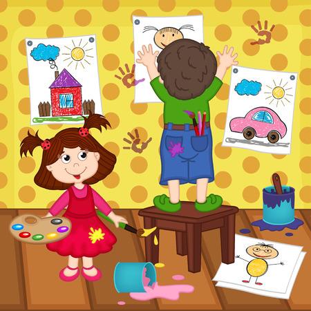 painter cartoon: girl and boy artists