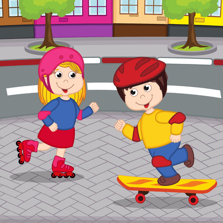 girl and boy on rollerblading and skateboarding