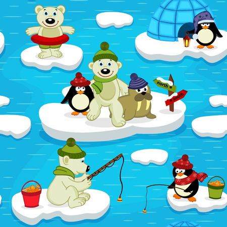 ice fishing: seamless pattern with polar bear walrus penguin Illustration