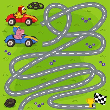 motor racing: find winner of motor race - vector illustration, eps