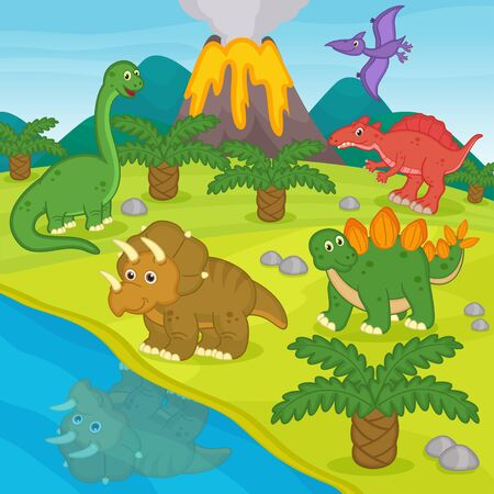 archaeological: dinosaurs and prehistoric landscape Illustration