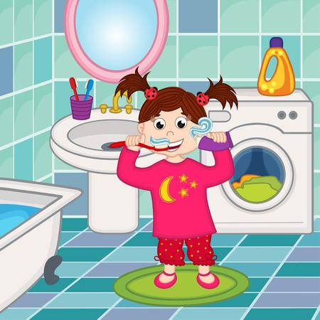 bathroom tile: girl brushing teeth in bathroom