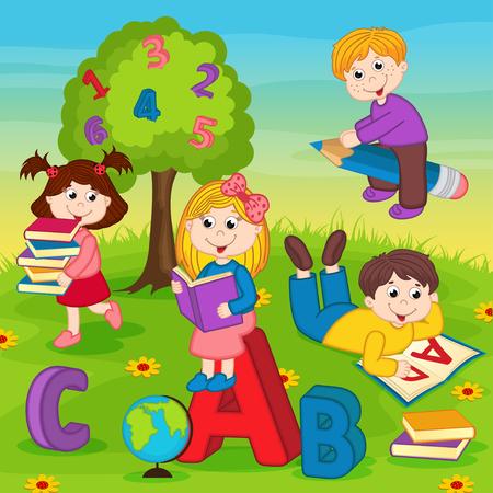 cartoon reading: Children on the grass reading a book