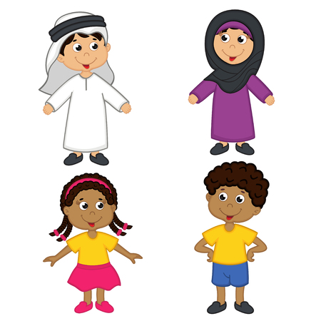 set of isolated children of muslim and african-american nationalities Illustration