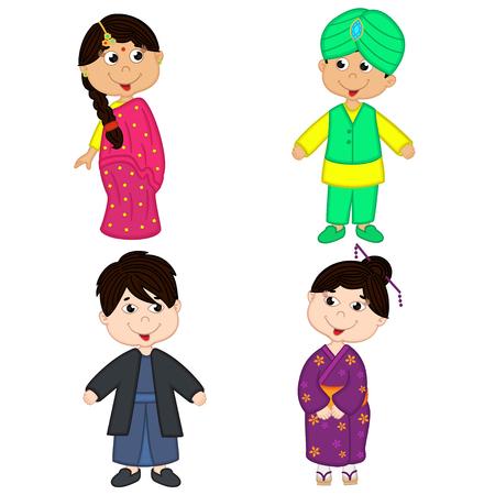 set de los niños aislados de nacionalidades indias y japonesas Ilustración de vector