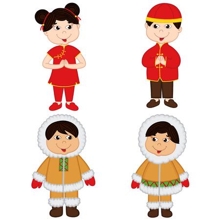 niños de diferentes razas: conjunto de los niños aislados de nacionalidades chinas y esquimales