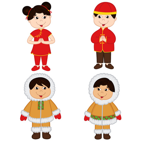 gruppo di bambini isolati di nazionalità cinese e Eskimo