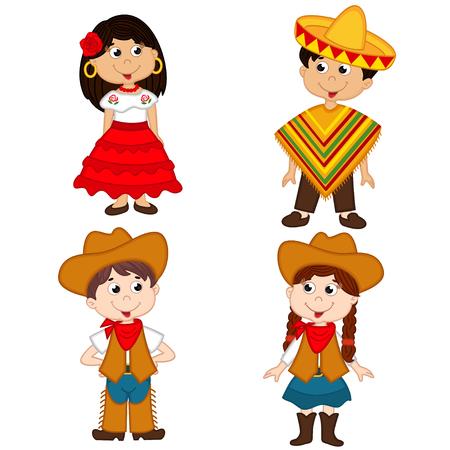 Satz von isolierten Kinder von mexikanischen und Cowboy Nationalitäten Illustration