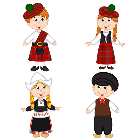 set of isolated children of Scotland and Netherlands nationalities - vector illustration, Çizim