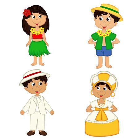 niños de diferentes razas: set de los niños aislados de nacionalidades Hawaii y Brasil - ilustración vectorial Vectores