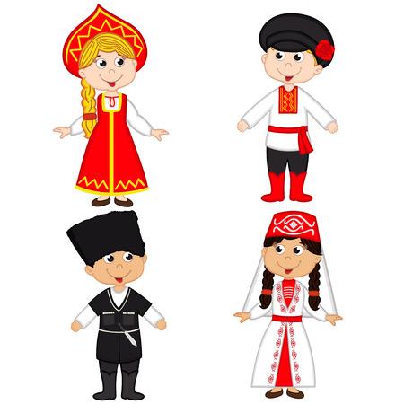 highlander: conjunto de los niños aislados de Rusia y Georgia nationalities- ilustración vectorial