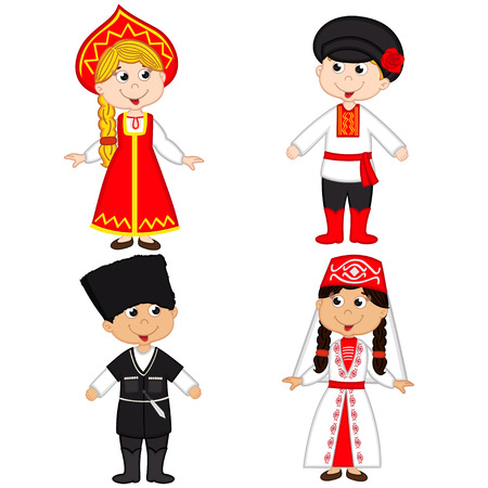 set of isolated children of Russia and Georgia nationalities- vector illustration