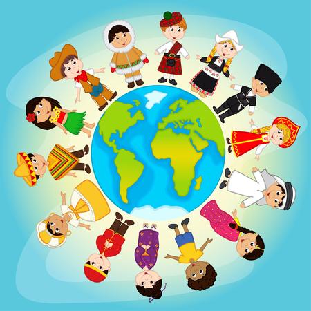 niños diferentes razas: personas multiculturales en el planeta Tierra - ilustración vectorial Vectores