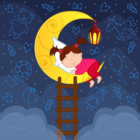 Baby Mädchen zwischen den Sternen schläft auf dem Mond - Vektor-Illustration