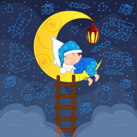 lullaby: baby boy sleeping on the moon among the stars - vector illustration