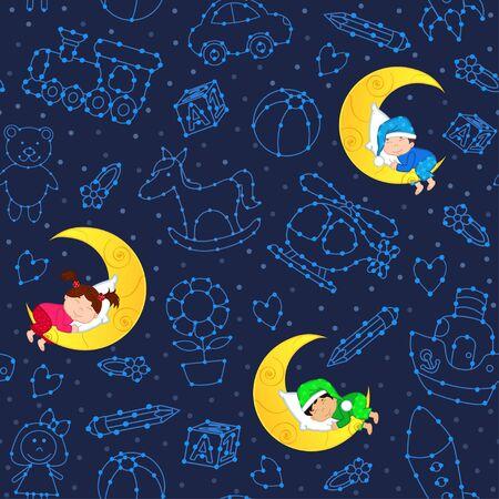 sleeping car: seamless pattern with children sleeping on moon among stars - vector illustration Illustration
