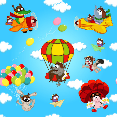 plane cartoon: seamless pattern with animals in air - vector illustration