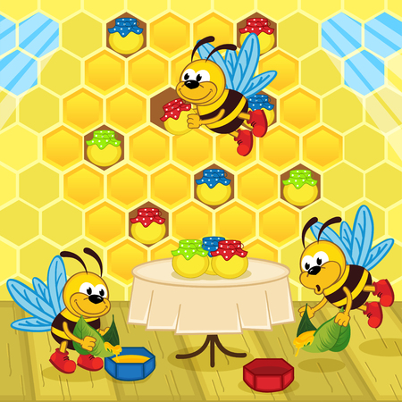 family eating: bees make honey in the hive - vector illustration