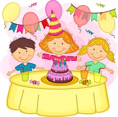 nene y nena: los ni�os celebrando cumplea�os - ilustraci�n vectorial