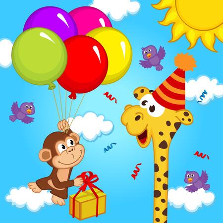 tallness: giraffe celebrating birthday - vector illustration