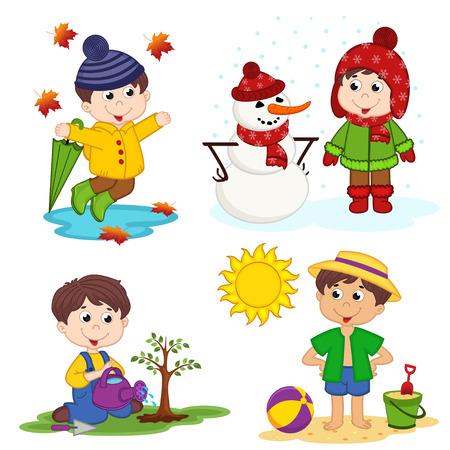 pelota caricatura: niño y las cuatro estaciones