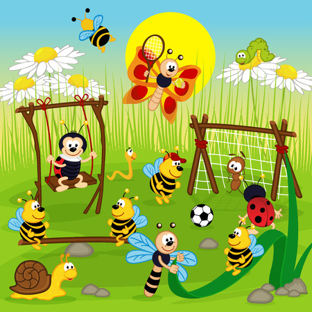 insect: insect playing in the playground Illustration