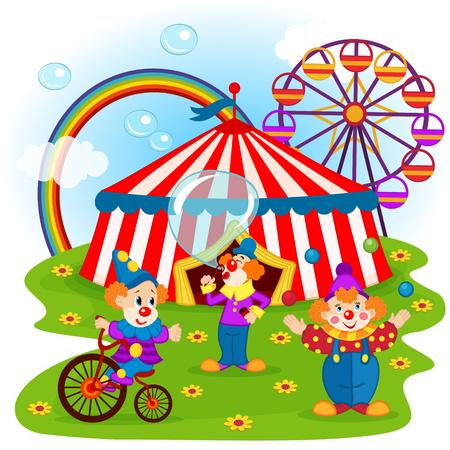 cartoon circus: funny clowns and circus